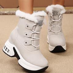 Dla kobiet Zamsz PU Płaski Obcas Platforma Kozaki Z Sznurowanie Sztuczne Futro obuwie