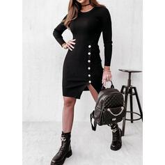 Jednolity Długie rękawy Pokrowiec Nad kolana Mała czarna/Nieformalny Sukienki