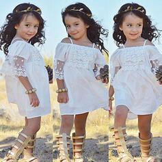 Dziewczynki 2-5lat Żabot Jednolity Koronka Bawełna Suknia