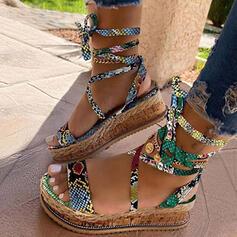 Dla kobiet Skóra ekologiczna Obcas Koturnowy Sandały Koturny Z Sznurowanie obuwie