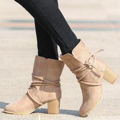 Dla kobiet Zamsz Obcas Slupek Kozaki do polowy lydki Round Toe Z Sznurowanie obuwie