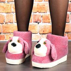 Dla kobiet Aksamit Płaski Obcas Buty zimowe Round Toe Z Kolor splotu obuwie
