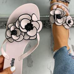 Dla kobiet PVC Płaski Obcas Sandały Japonki Kapcie Z Kwiaty obuwie