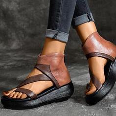 Women's PU Flat Heel Sandals Wedges Peep Toe Heels With Zipper shoes