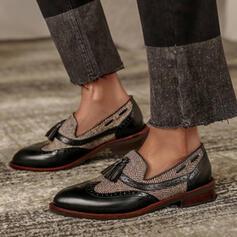 Dla kobiet PU Płaski Obcas Plaskie Niesznurowane mokasyny Z Frędzle Kolor splotu obuwie