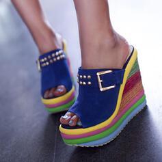Dla kobiet Zamsz Obcas Koturnowy Sandały Platforma Koturny Otwarty Nosek Buta Kapcie Z Klamra Kolor splotu obuwie
