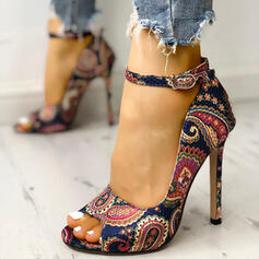 Dla kobiet PU Obcas Stiletto Czólenka Otwarty Nosek Buta Z Klamra Obcas z krysztalami obuwie