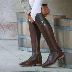 Dla kobiet PU Obcas Slupek Kozaki do kolan Round Toe Z Sznurowanie Jednolity kolor obuwie