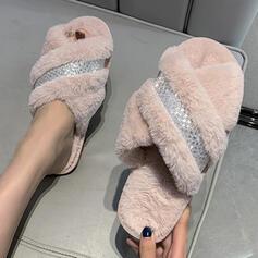 Dla kobiet Sztuczne futro Płaski Obcas Otwarty Nosek Buta Kapcie Z Futro obuwie