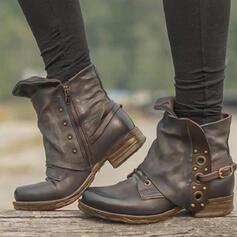 Dla kobiet PU Obcas Slupek Botki Round Toe Z Nit Klamra Jednolity kolor obuwie