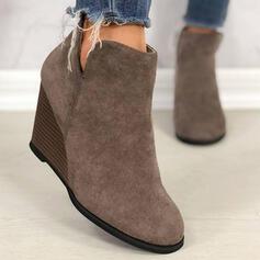 Dla kobiet PU Obcas Koturnowy Koturny Round Toe Buty Chelsea Z Jednolity kolor obuwie
