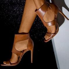 Women's PU Stiletto Heel Peep Toe With Zipper shoes