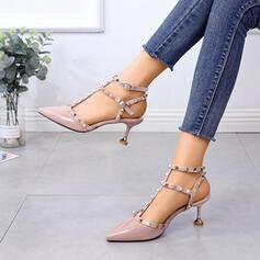 Dla kobiet PU Obcas Stiletto Spiczasty palec u nogi Z Nit Klamra obuwie