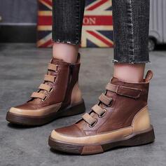 Dla kobiet Skóra ekologiczna Płaski Obcas Round Toe Z Zamek błyskawiczny Plecione Ramiączko obuwie