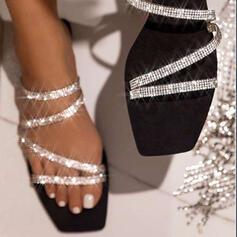 Dla kobiet Byszczący brokat Płaski Obcas Sandały Otwarty Nosek Buta Kapcie Z Stras/ Krysztal Górski Byszczący brokat obuwie