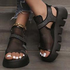 Dla kobiet Material Tkanina mesh Obcas Koturnowy Sandały Z Stras/ Krysztal Górski Tkanina Wypalana Rzep Jednolity kolor obuwie