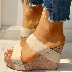 Dla kobiet PU Obcas Koturnowy Sandały Otwarty Nosek Buta Kapcie Z Nit obuwie