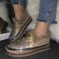 Women's Suede Flat Heel Flats Round Toe Slip On With Sequin Faux-Fur shoes