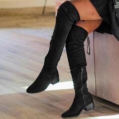 Dla kobiet Zamsz Obcas Slupek Kozaki Z Zamek błyskawiczny Sznurowanie Jednolity kolor obuwie
