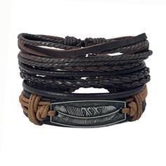 Boho Alloy Leather With Feather Tag Bracelets 3 PCS