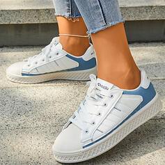 Dla kobiet Mikrofibra Płaski Obcas Plaskie Niskie góry Round Toe Tenisówki Z Sznurowanie Wydrukować obuwie