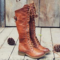 Dla kobiet PU Obcas Slupek Kozaki Martin Buty Z Klamra Sznurowanie Jednolity kolor obuwie