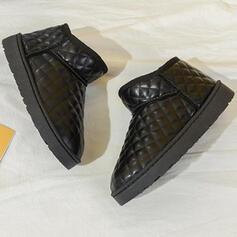 Dla kobiet PU Płaski Obcas Botki Buty zimowe Round Toe Z Jednolity kolor obuwie