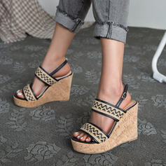Women's PU Wedge Heel Pumps Platform Wedges Peep Toe Heels With Buckle Hollow-out Splice Color shoes