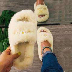 Dla kobiet Aksamit Płaski Obcas Kapcie Z Futro obuwie