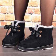 Dla kobiet Zamsz Płaski Obcas Buty zimowe Round Toe Z Sznurowanie Jednolity kolor obuwie