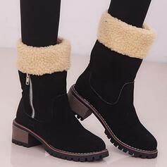 Dla kobiet Zamsz Obcas Slupek Kozaki do polowy lydki Round Toe Buty zimowe Z Zamek błyskawiczny Colorblock obuwie