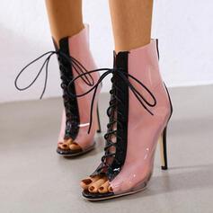 Dla kobiet PU Obcas Stiletto Otwarty Nosek Buta Z Sznurowanie Kolor splotu obuwie