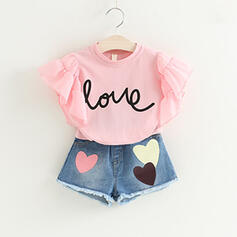 2-pieces Toddler Girl Letter Heart Ruffle Denim Print Cotton Set