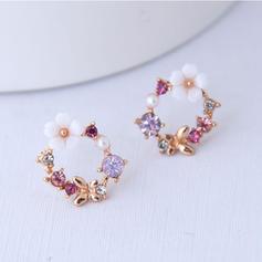 Flower Shaped Alloy Rhinestones With Rhinestone Women's Earrings (Set of 2)