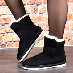 Dla kobiet Zamsz Płaski Obcas Buty zimowe Round Toe Z Sztuczne Futro Jednolity kolor obuwie