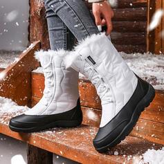 Dla kobiet Skóra ekologiczna Płaski Obcas Riding Boots Round Toe Z Sznurowanie Kolor splotu obuwie