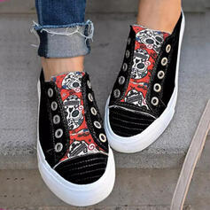 Dla kobiet Płótno Płaski Obcas Plaskie Platforma Round Toe Espadrille Poślizgnąć się na Z Kolor splotu obuwie