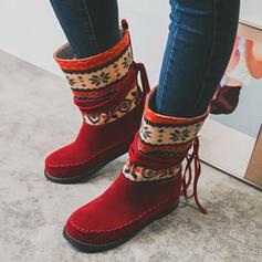 Dla kobiet Zamsz PU Płaski Obcas Kozaki do polowy lydki Buty zimowe Round Toe Z Frędzle Kolor splotu obuwie