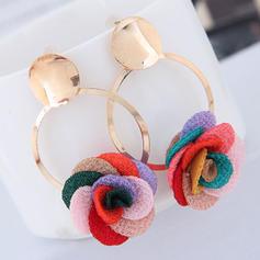 Kwiat w kształcie Stop Tkanina Z kwiaty Dla kobiet Kolczyki Moda
