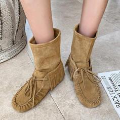 Dla kobiet Zamsz Niski Obcas Round Toe Buty zimowe obuwie