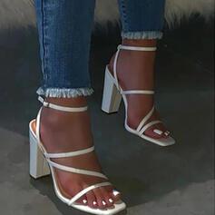Dla kobiet PU Obcas Slupek Sandały Plaskie Otwarty Nosek Buta Bez Pięty Kapcie Z Klamra Jednolity kolor obuwie