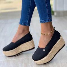 Dla kobiet Tkanina Płaski Obcas Niesznurowane mokasyny Z Plecione Ramiączko Jednolity kolor obuwie
