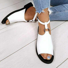 Women's Suede Flat Heel Sandals Peep Toe With Buckle Hollow-out shoes