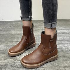 Dla kobiet Skóra ekologiczna Płaski Obcas Round Toe Z Zamek błyskawiczny Jednolity kolor obuwie