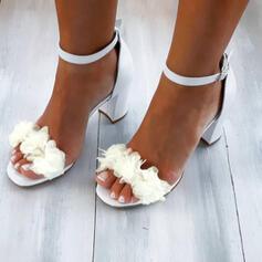 Dla kobiet PU Obcas Slupek Sandały Czólenka Z Aplikacja/ Naszywka Tkanina Wypalana Jednolity kolor obuwie