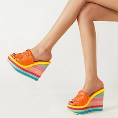 Dla kobiet Skóra ekologiczna Obcas Koturnowy Sandały Platforma Koturny Otwarty Nosek Buta Kapcie Z Kolor splotu W kratke obuwie