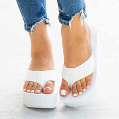 Women's PU Wedge Heel Sandals Platform Wedges Peep Toe Slippers With Hollow-out shoes