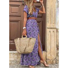 Nadrukowana Krótkie rękawy W kształcie litery A Casual Maxi Sukienki