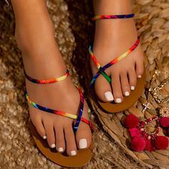 Dla kobiet PU Płaski Obcas Sandały Otwarty Nosek Buta Z Kolor splotu obuwie