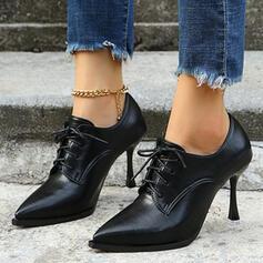 Dla kobiet PU Szpilki Czólenka Obcasy Spiczasty palec u nogi Z Sznurowanie Jednolity kolor obuwie